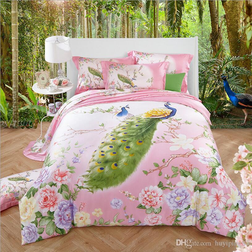 Super Soft Tencel set di biancheria da letto in seta King Queen size 4 pezzi Summer Spring Set letto Peacock Copripiumino / Copripiumino Lenzuolo copriletto shams