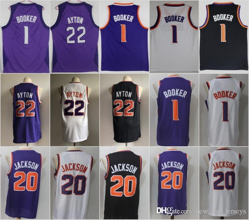 03a7dfe55 Phoenix Suns Jerseys 1 Devin Booker 20 Josh Jackson 22 DeAndre Ayton Top  Quality Embroidery Logos Jersey Men 2019 Online with  28.0 Piece on ...
