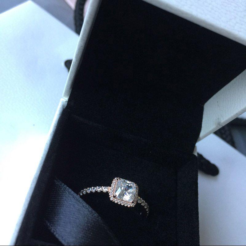 Echt 925 Sterling Silber CZ Diamant RING mit LOGO Original Box Fit Pandora Stil 18 Karat Gold Ehering Verlobungsschmuck für Frauen
