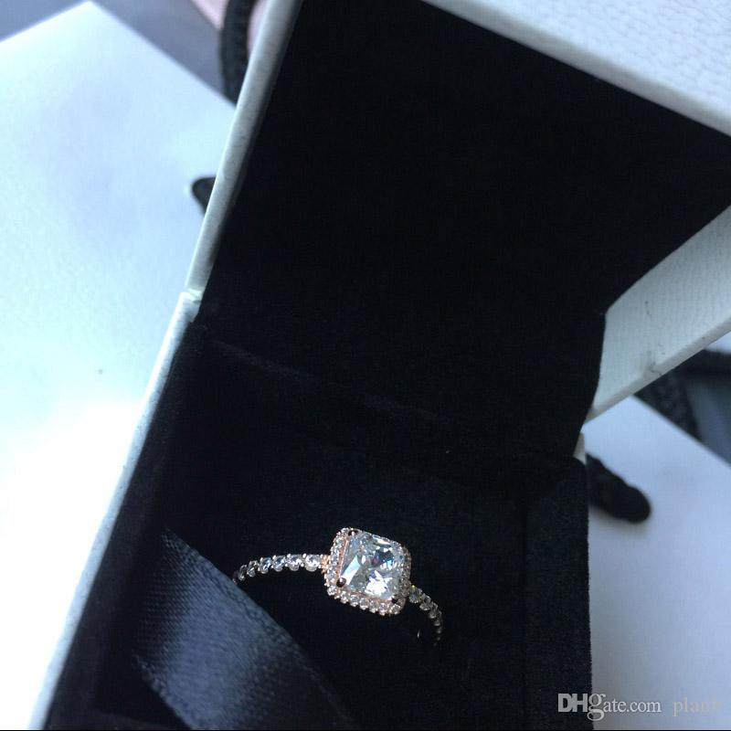 Real 925 стерлингового серебра CZ с алмазным кольцом с логотипом Оригинальная коробка FIT PANDORA STYLE 18K GOLD Обручальное кольцо Объединение Ювелирные изделия для женщин