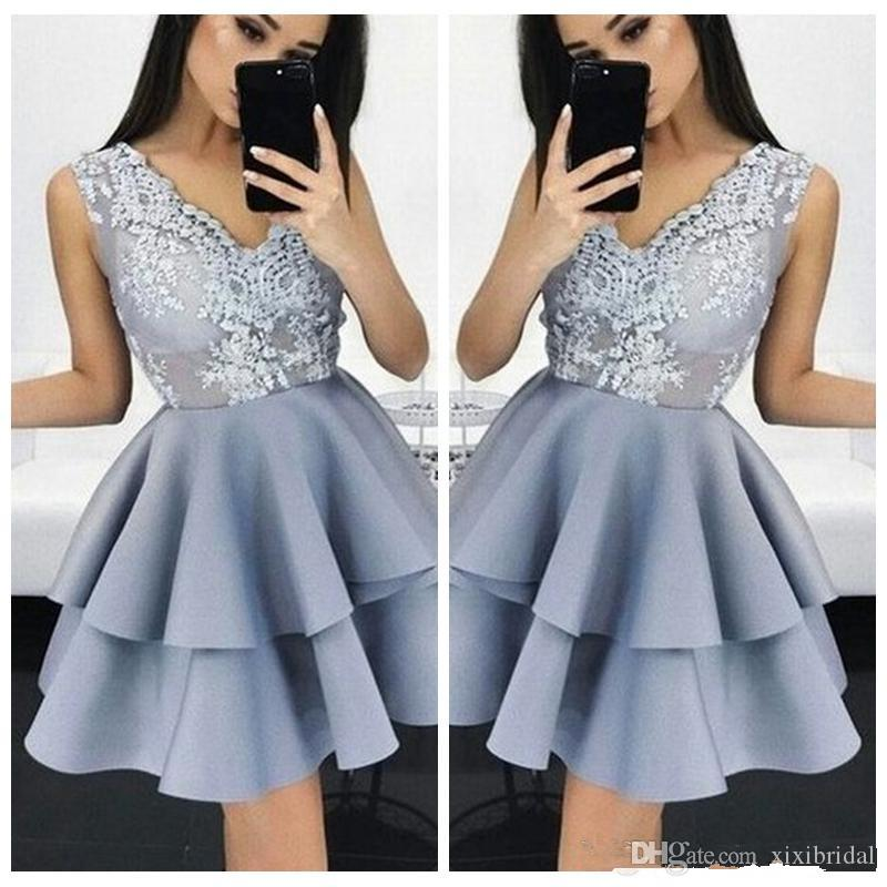 0d88c341a7 Sexy V Neck Lace Appliques Homecoming Dresses 2018 Tiered Formal Occasion  Cocktail Party Gowns Cheap Short Mini Prom Dress Baby Blue Homecoming  Dresses Dark ...