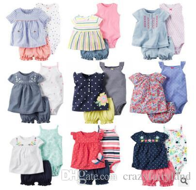 002226890596 Girl Clothes Outfit Sets 2018 Summer Newborn Baby Cotton Cartoon T ...