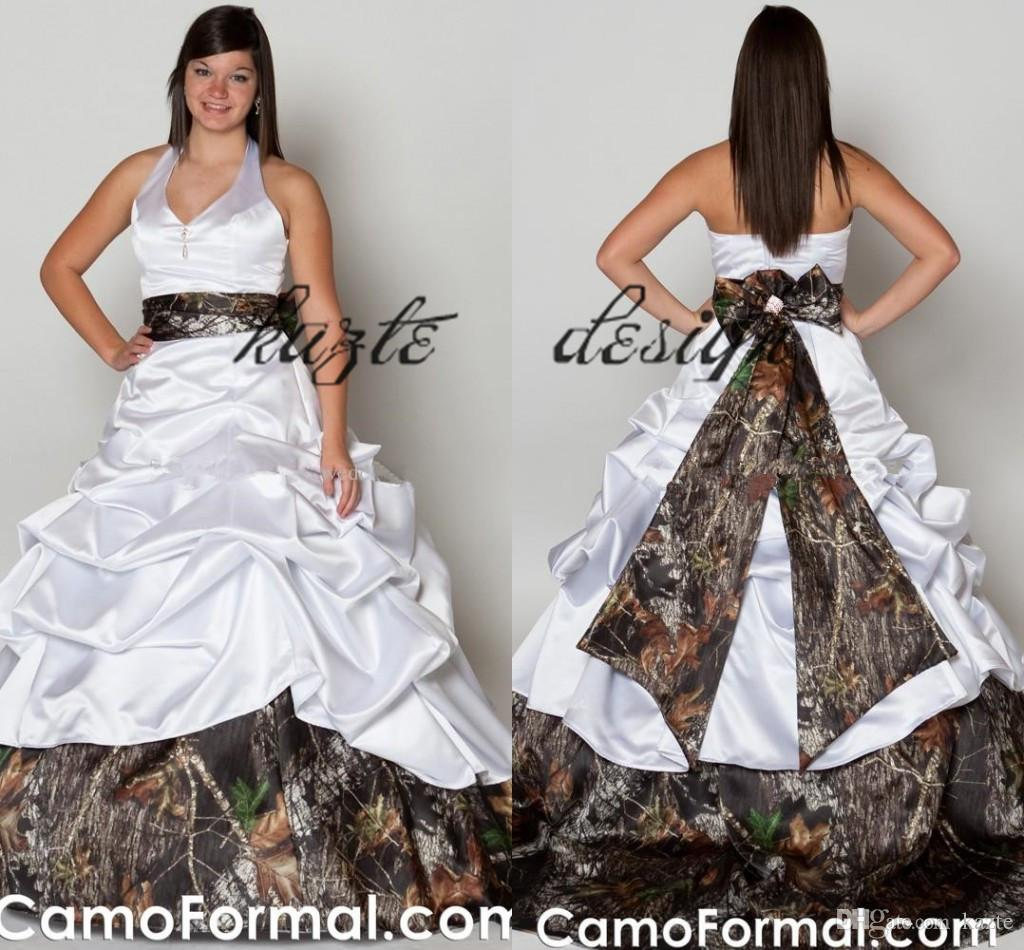 Discount Plus Size Ball Gown Vintage Camo Wedding Dresses 2018 V Neck Halter Satin Camouflage Ruffles Realtree Bridal Gowns Cowgirls Wedding Gowns Bridal Shop Celebrity Wedding Dresses From Kazte 132 72 Dhgate Com,Black And White Wedding Guest Dress