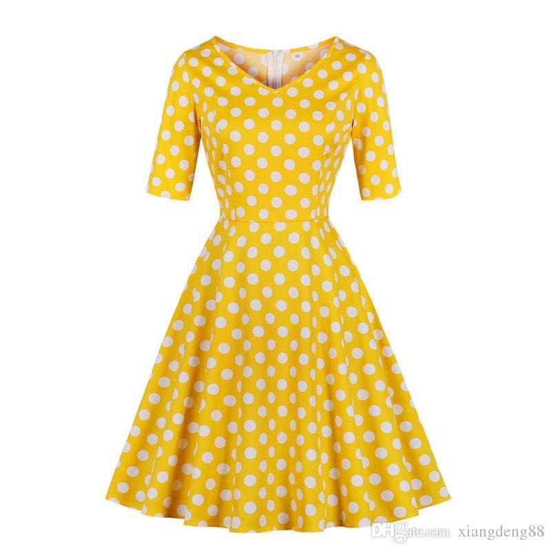 f016e7884 Fashion Womens Polka Dot Half Sleeve Retro Vintage Dress 50s 60s V Neck  Rockabilly Party Dress Housewife A Line Swing Dresses All White Summer  Dress Party ...