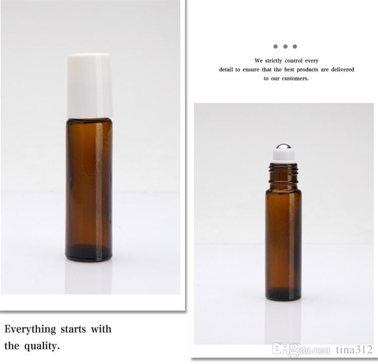 أحدث البني 10 ملليلتر لفة على الزجاج الضروري النفط زجاجة عطر المقاوم للصدأ الرول الكرة العطر زجاجة 572 قطع f0029