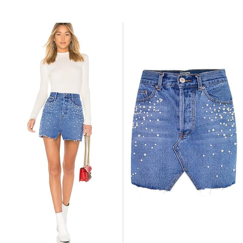 top quality reliable quality timeless design Wholesale Free Shipping Women Skirts Pencil High Waist Shorts Pearl Diamon  Ripped Denim Jeans Cut Skirt