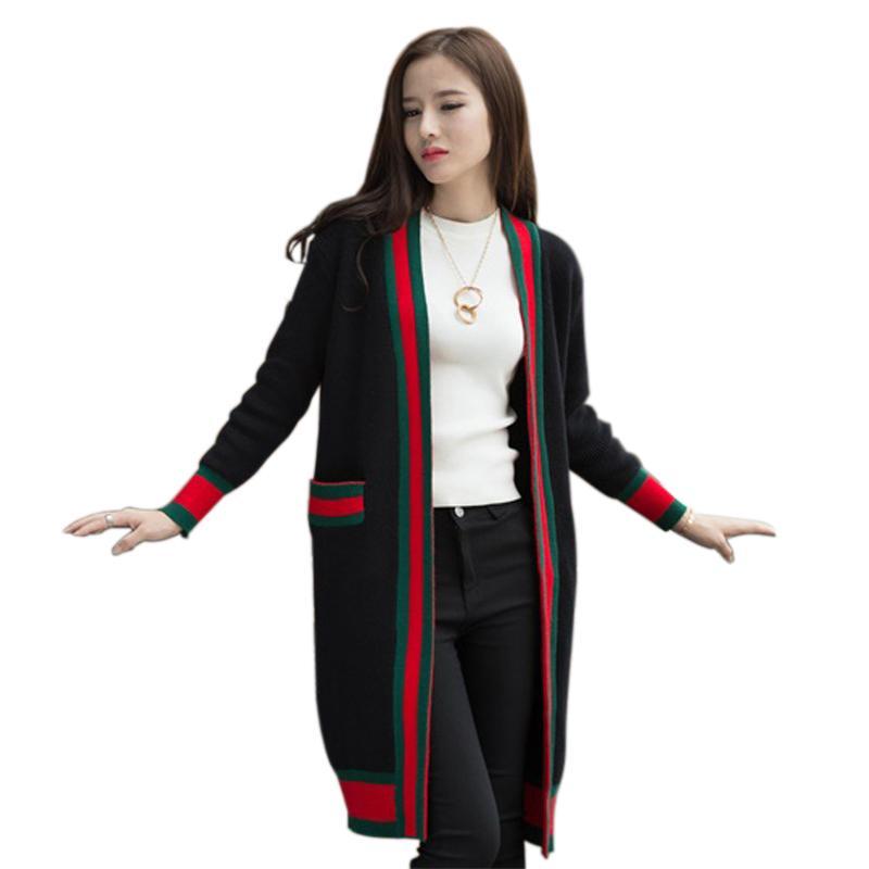 Compre Moda Mujer Suéter Cardigans 2018 Nuevo Invierno Abrigo Largo Suéter  De Punto Abierto Con Cuello En V Bolsillos Gruesa Larga Chaqueta Kinitting  A ... c8826bd9cf54