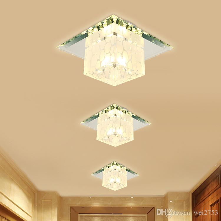 W En Lumières 18 W16 Minimaliste Couloir Monté Intégré Miroir Balcon Porche Moderne Allée Cristal Projecteurs Cm11 Verre Salon Lampes Plafond Led IW29DHYE