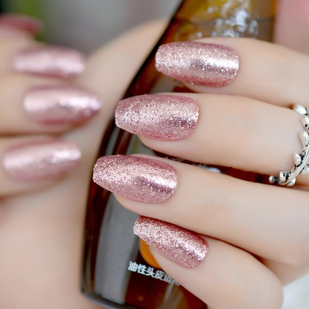Acquista Glitter Slice Bara Finta Nail Art Rosa Scuro Quadrato Medio  Copertura Completa Falsa Stampa Sulle Unghie Signora Trucco Faux Ongles  Manicure Z881 A
