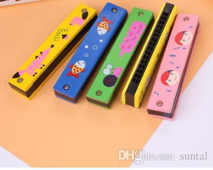 Bebé Madera Plástico Armónica Diversión Doble Fila 16 hoyos Armónica Juguete Musical Juguete educativo temprano al por mayor