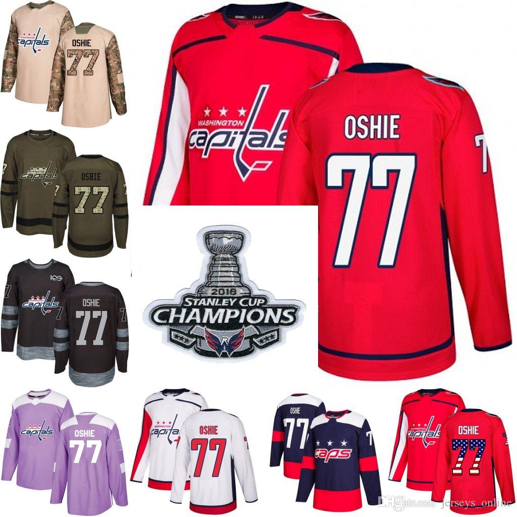 691c7d432c4 2019 2018 Stanley Cup Champions 77 T.J. Oshie Washington Capitals Green Red  USA Flag Purple Fights Cancer Practice Camo Veterans Day Jerseys From ...