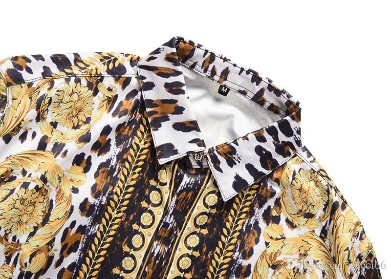 Роскошные мужчины рубашка 2018 весна осень Медуза ретро Dress рубашки Slim Fit хлопок рубашки для мужчин черный печати повседневная бизнес топы одежда