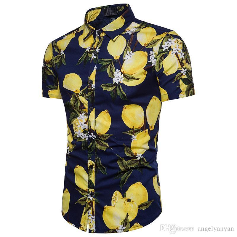 e3f0269bd64 2019 2018 Men S Short Sleeve Shirt Beach Style Fashion Body Lemon Pattern  Yarn Summer Men S Short Sleeve Shirt Men S Short Sleeve Top DC02 From  Angelyanyan