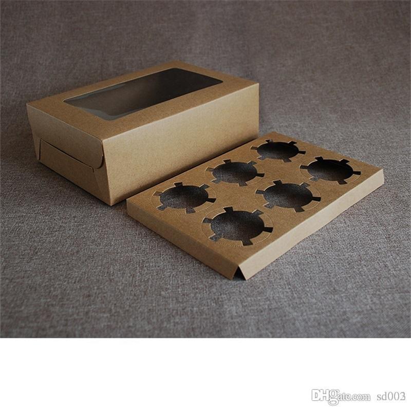 كرافت ورقة بطاقة كعكة صناديق طوي أصحاب الكعك الحلوى البني الرجعية نمط كب كيك التفاف حزمة العديد من الأحجام 3 2ms7 zz