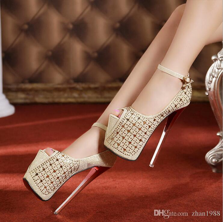 outlet pay with paypal clearance nicekicks 2018 summer model show fish mouth shoes super fine with a woman shoes waterproof table paste diamond 19CM fine high heels Uu9i3hI