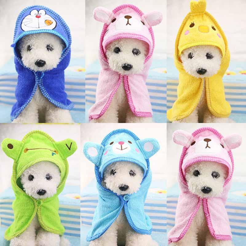 B58 Cute Cartoon Pet Dog Bath Towel Funny Dog Blanket for Dogs Cats Super Absorbent Puppy Cats Bathrobe Suit for Yorkie