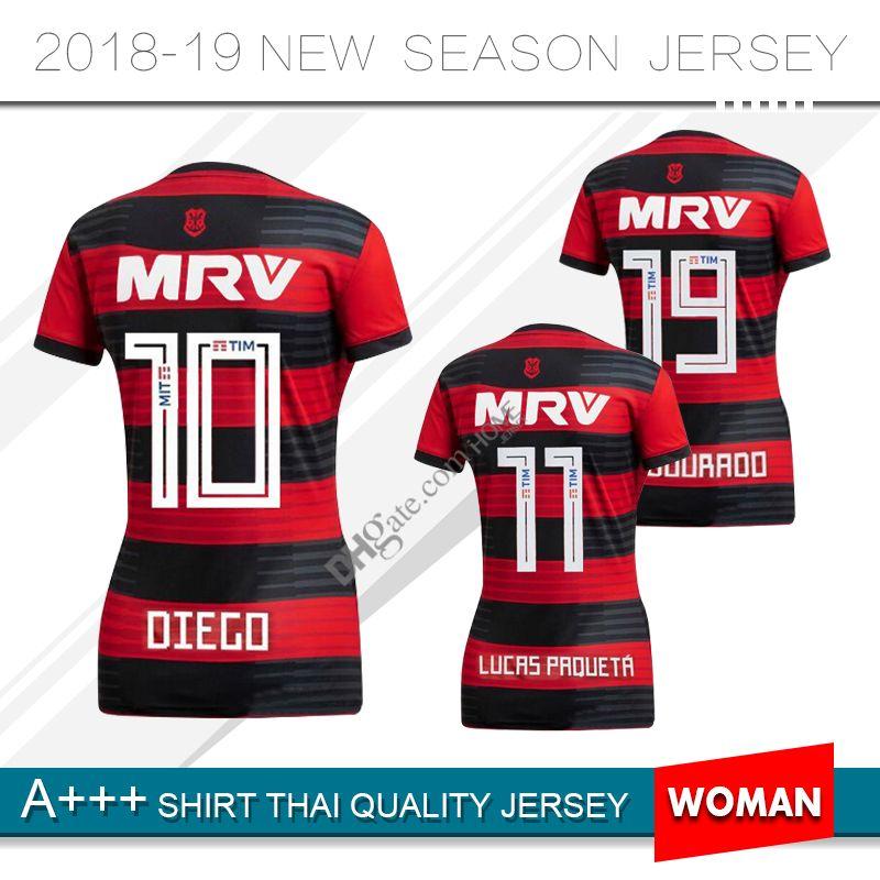 42b522508 18 19 Flamengo Jersey 2018 2019 Flemish Women GUERRERO DIEGO VINICIUS JR Soccer  Jerseys Flamengo Woman Home Red Black Football Shirt Uniform UK 2019 From  ...