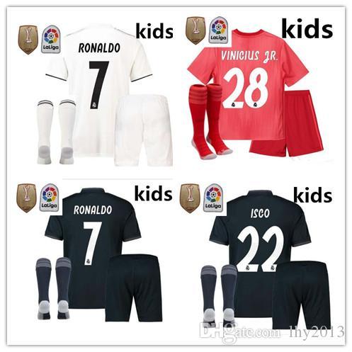 premium selection 31c63 922da TOP kids kits Real Madrid soccer jersey 2018 2019 RONALDO MORATA MARCELO  SERGIO RAMOS KROOS BENZEMA ISCO SUAREZ kids Football kits+ socks