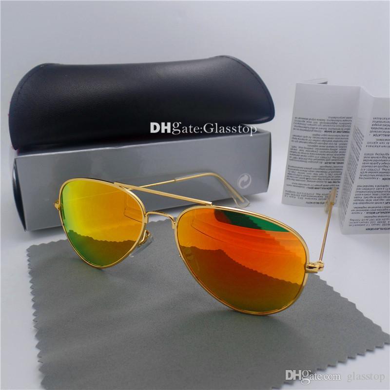 고품질 G15 유리 렌즈 패션 남자 여자 금속 프레임 선글라스 58MM 62MM 빈티지 UV400 미러 그늘 파일럿 도매 고글 케이스 박스