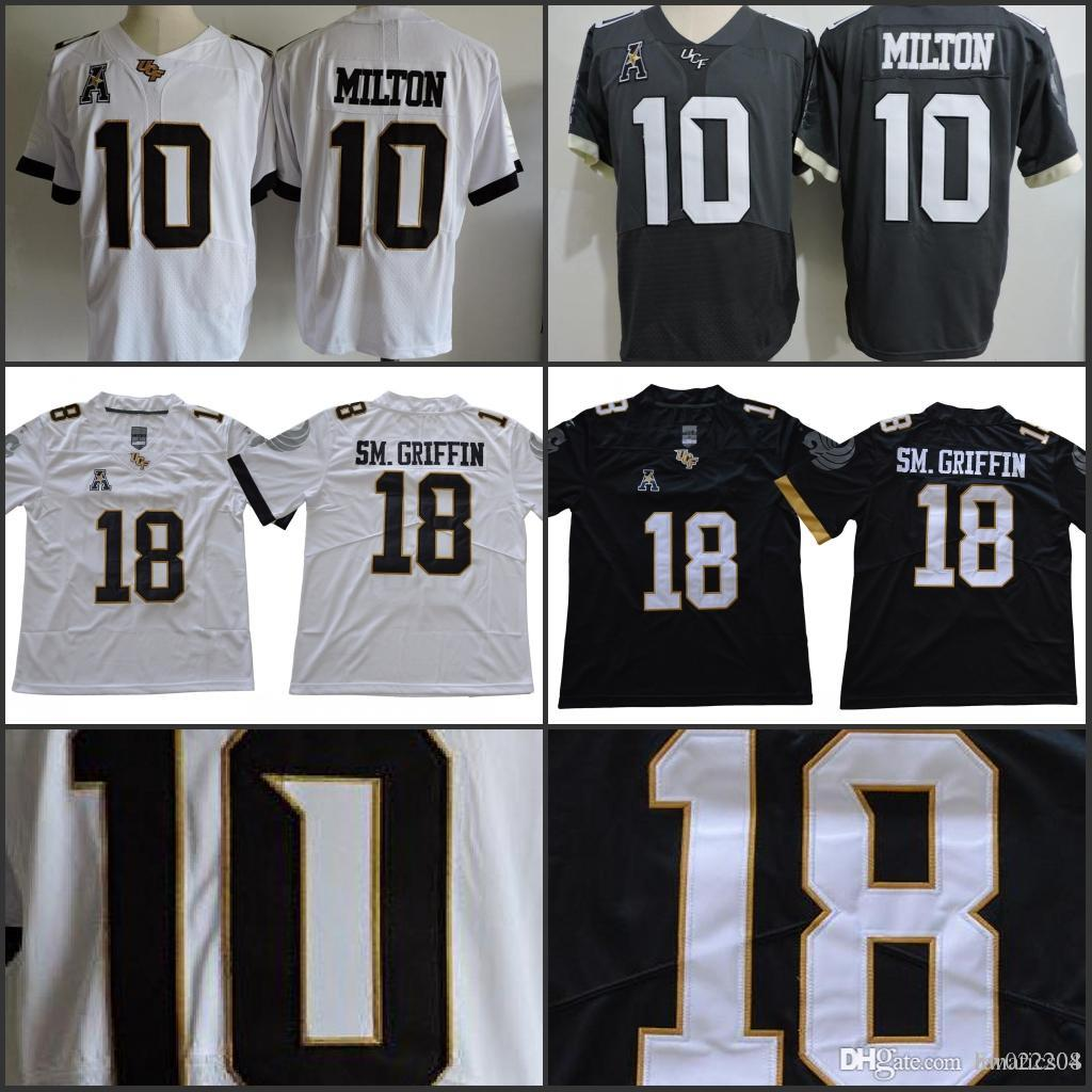 2019 NCAA UCF Knights 18 Shaquem Griffin 10 McKenzie Milton SM.Griffin  Black White Stitched College Football Game Worn Black Jersey From  Fanatics04 db6a10de1