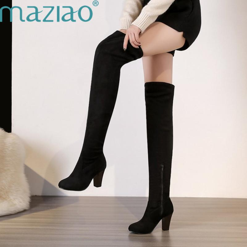 962f2b5d040 Thigh High Boots Female Winter Boots Women Over The Knee Flat Stretch Sexy  Fashion Shoes Black Brown MAZIAO Green Boots Cute Shoes From Chingkee