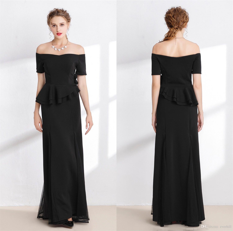 2018 Black Long Mother Of The Bride Dresses Short Sleeve Vestido De ...
