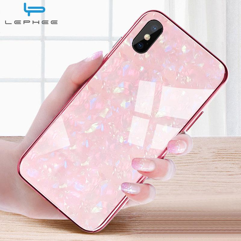 separation shoes a05ad ac10a For iPhone 7 Case For iPhone X Case For iPhone XS Max XR 10 6 6s 8 Plus  Luxury Conch Shell Shockproof Tempered Glass Phone Case