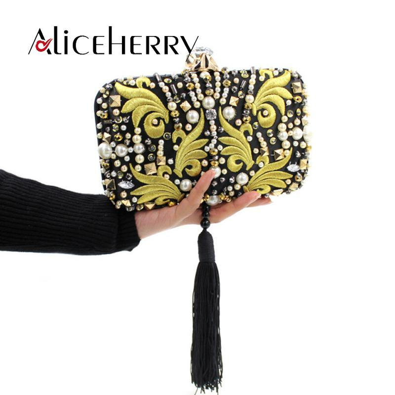 Luxury women clutch bag ladies diamond embroidery evening bag tassels wedding bridal girls chain handbags purse party phone bags