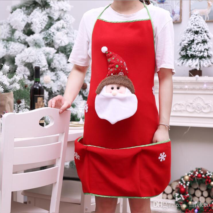 On Sale 3D Santa Claus Snowman Christmas Aprons Home Bar Club Waiter Aprons Props Christmas Party Supplies