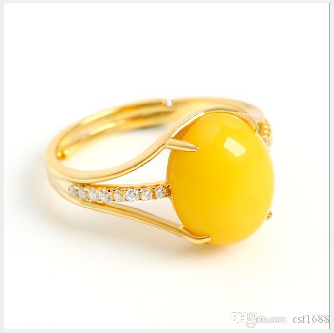Nouvel anneau de cire d'abeille ambre plaqué or plaqué de poulet