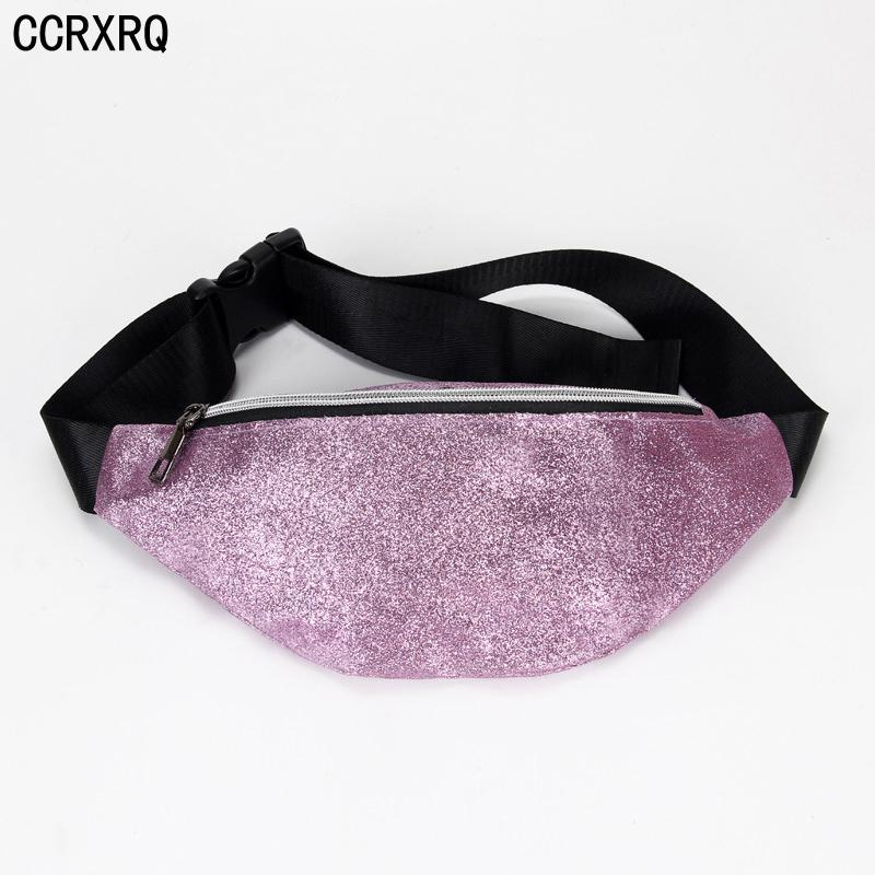 CCRXRQ Waist Bags For Women 2018 Convenient Ladies Belt Bags Fashion New Sequined Fanny Pack Leather Belt Pack Crossbody Bag