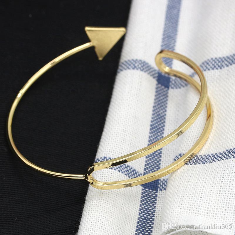 Arrow Charm Bangles Gold Silver Black Rose Gold Alloy Bracelets Adjustable Cuff Bangle Bracelet Fashion Jewelry