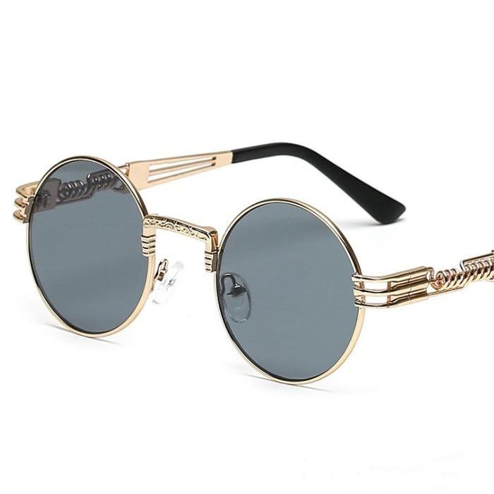 bcd47915c53 2018 Round Metal Sunglasses Steampunk Men Women Fashion Glasses Brand  Designer Retro Vintage Sunglasses UV400 Police Sunglasses Serengeti  Sunglasses From ...