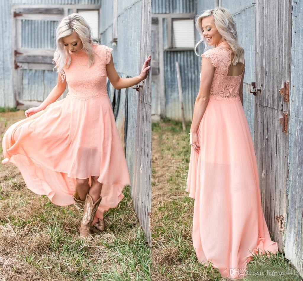7add860891 Peach Bridesmaid Dresses 2018 High Cap Sleeve Lace Applique Hollow Back  High Low Chiffon A Line Bohemian Beach Country Wedding Guest Gowns