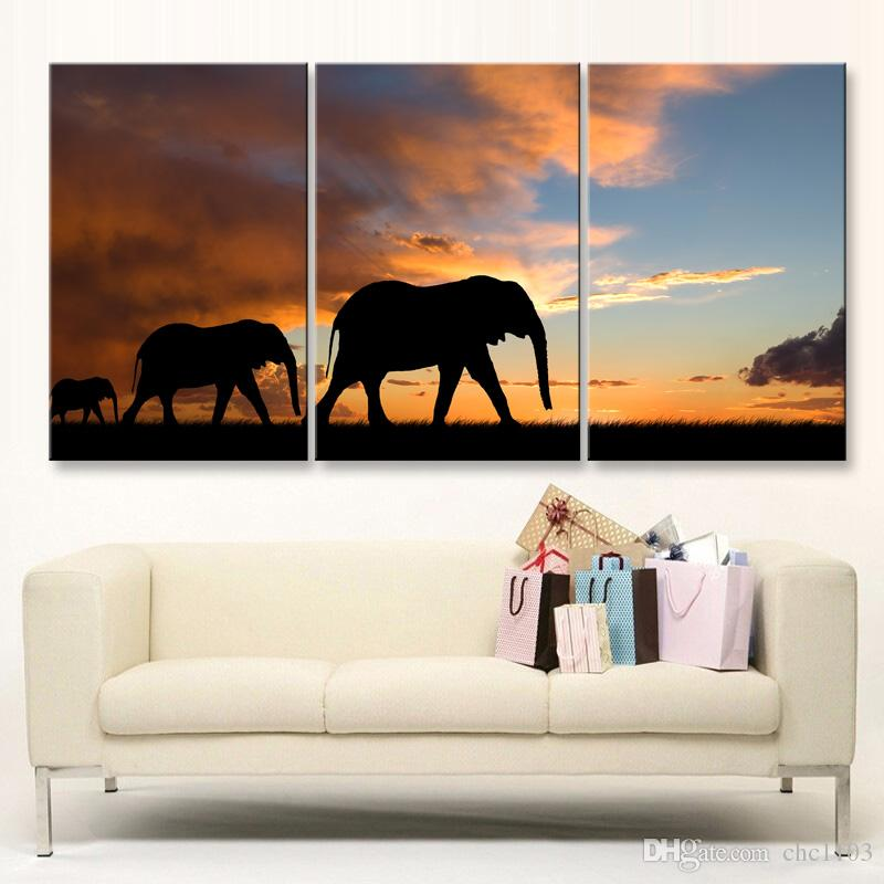 high-definition print African landscape canvas oil painting poster and wall art living room picture FZ3-002
