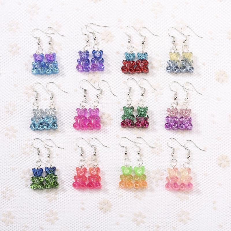 14f6af42fe3b 1 par Moda Craft Resina brillo colorido oso gomoso Pendientes de Gota Para  Mujeres Japón / Joyería de Moda Coreana Al Por Mayor