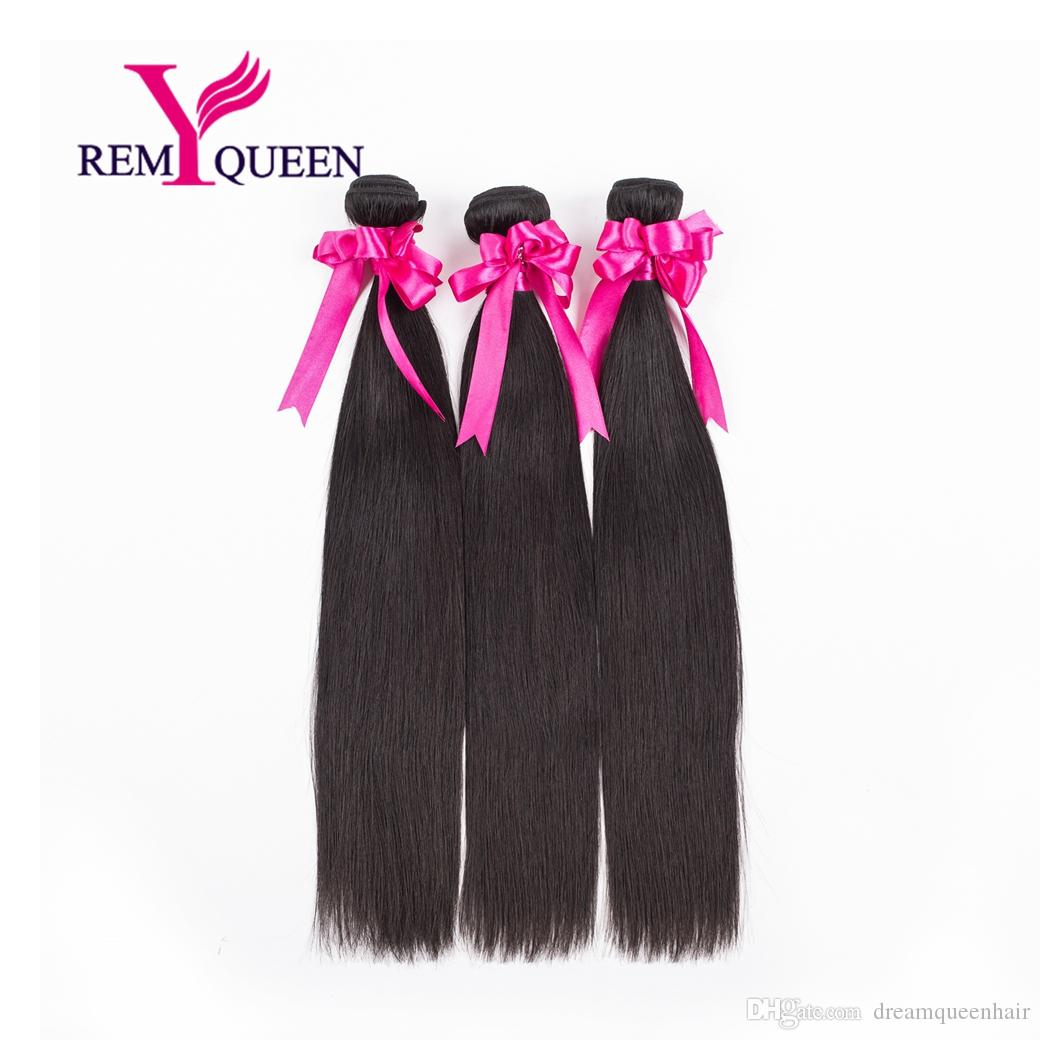 Dream Remy Queen Silky Straight 100% Unprocessed Brazilian Virgin Human Hair 3 Bundles a Grade 8A 100g/pc Wefts extension