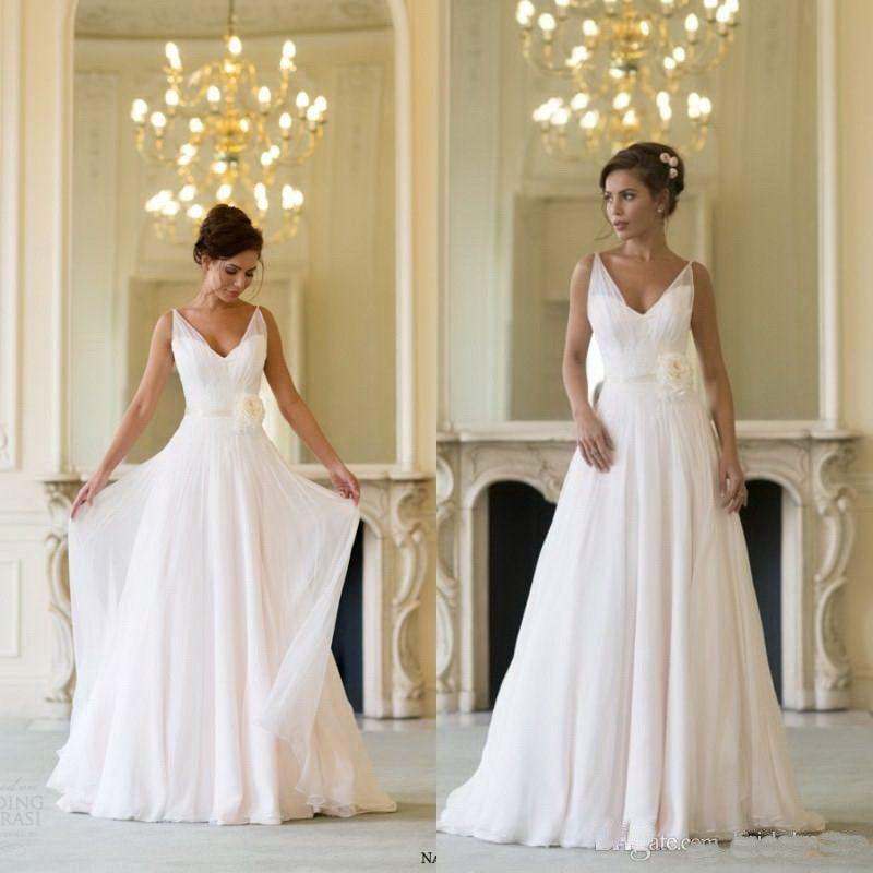 Naomi Neoh 2018 Newest Champagne V Neck Sweep Train Flower Sash Chiffon Summer Beach Wedding Dresses Bridal Gowns Custom made