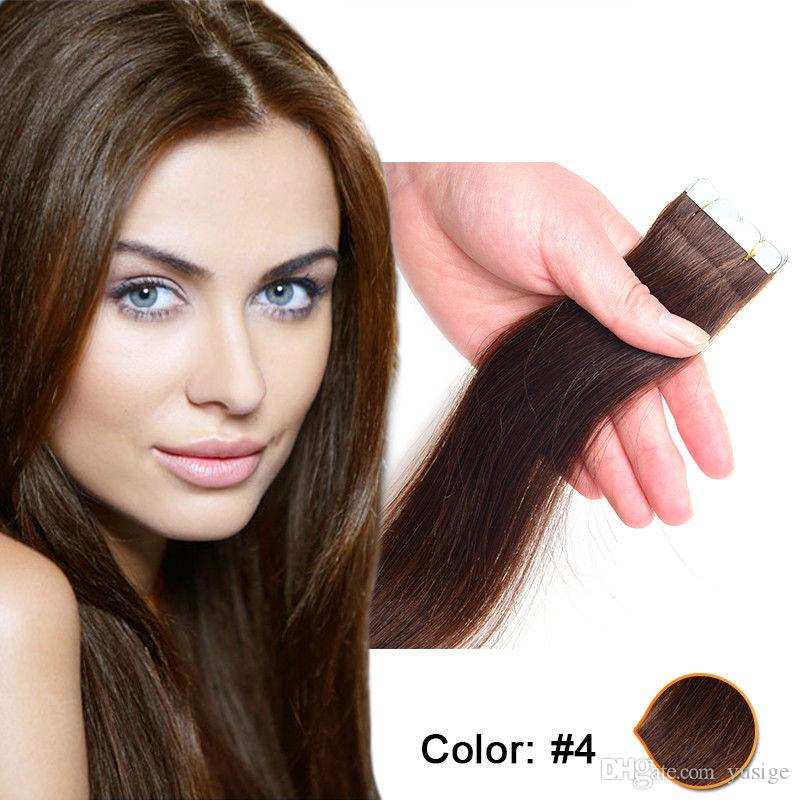 Tape In Human Hair Extensions Medium Brown 4 Pu Skin Weft Remy