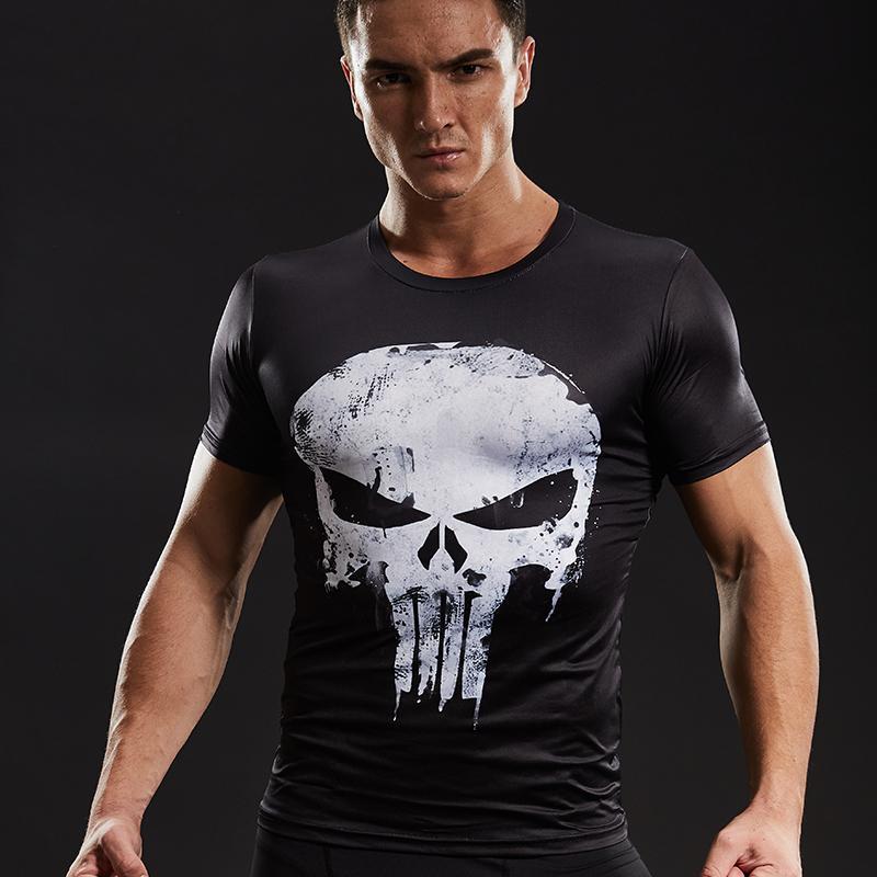 Acheter Chemises De Compression Hommes 3d Imprimé T Shirts Manches Courtes  Cosplay Fitness Body Building Mâle Crossfit Tops Punk Skull Squelette De   24.96 ... 10120bef544