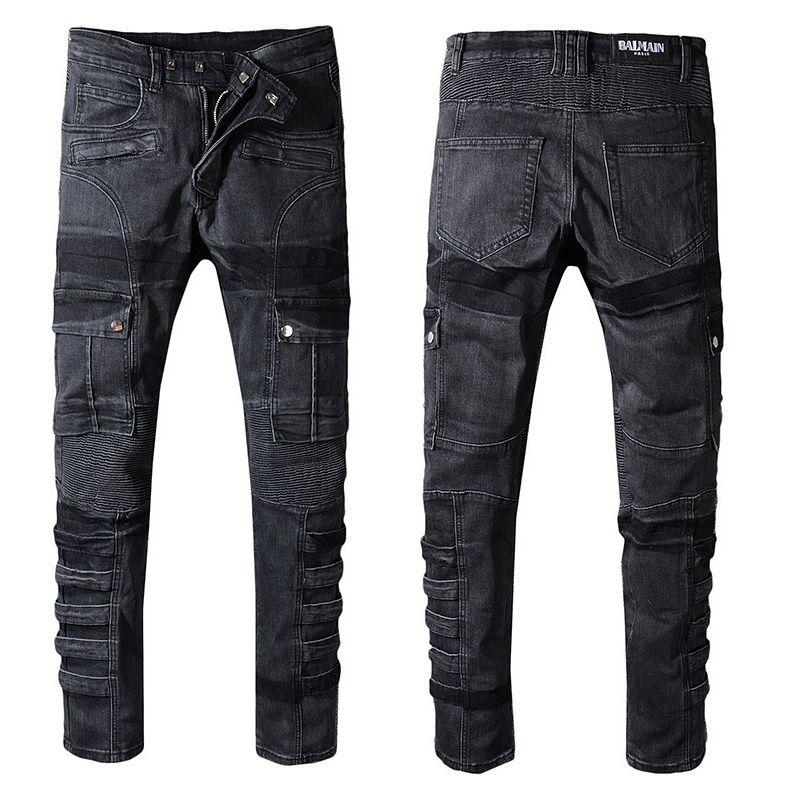 differently on wholesale top fashion Mens jeans balmain Motorcycle biker jeans rock revival skinny Slim ripped  Popular Cool beggar Mottled hole true pants men designer jenas