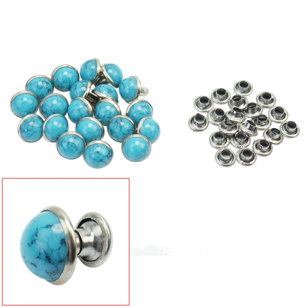 Round Turquoise Rivet Stud Spikes Leathercraft Decorations Clothes Bag Shoes Leather Belt DIY Crafts Accessories Clothes Sewing accessories