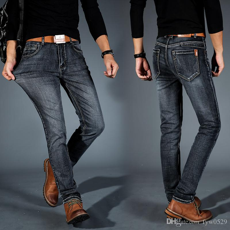 bee6234c281a 2019 Brother Wang Brand 2018 New Men S Fashion Jeans Business Casual  Stretch Slim Jeans Classic Trousers Denim Pants Male 101 From Fyw0529