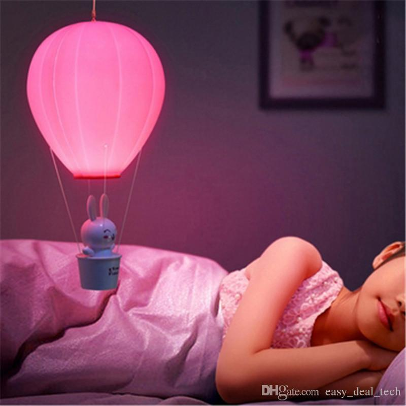 LED Night Light Dimmable Hot Air Balloon Children Baby Nursery Lamp With Touch Switch Remote Control USB Rechargeable Wall Lamp Q0435