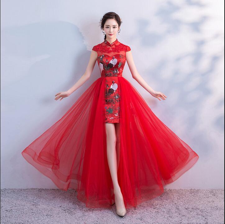 858face59d1f 2019 Red Traditional Wedding Bridal Cheongsam Dress Traditional Chinese  Oriental Necklaces Modern Chinese Qipao Dresses Wedding Dress From Houmian,  ...