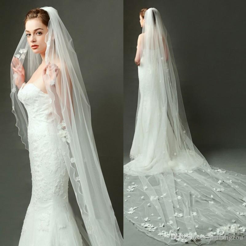 Wedding Veil Styles: Fashion 2018 One Layer Wedding Veils Custom Made Cathedral