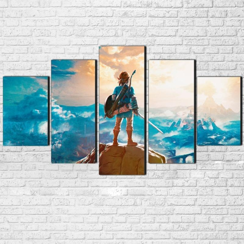 Modular Canvas Painting Wall Art Pictures Frame Living Room Decor 5 Pieces Legend Of Zelda Cartoon Game Characters Poster PENGDA Y18102209