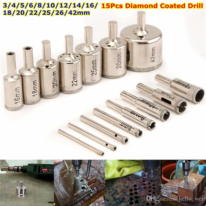 15Pcs 3-42mm Diamond Coated Drill Bit Set Hole Saw Cutter for Glass Wood Mental 3 4 5 6 8 10 12 14 16 18 20 22 25 26 42mm