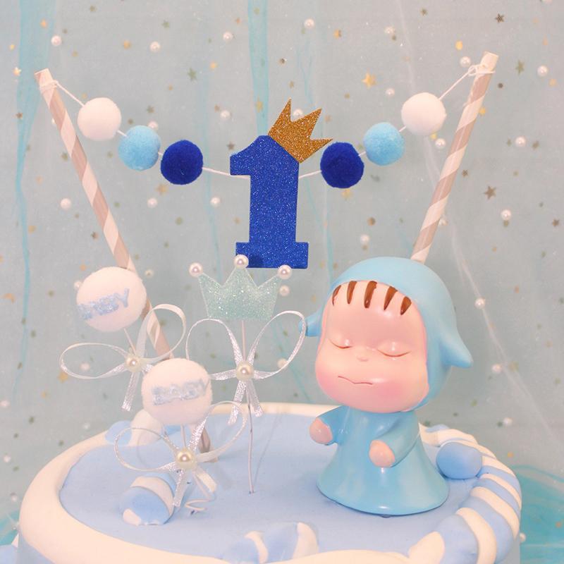 Grosshandel 1 Stuck Suss Ein Jahr Pompon Kuchen Topper Geburtstag