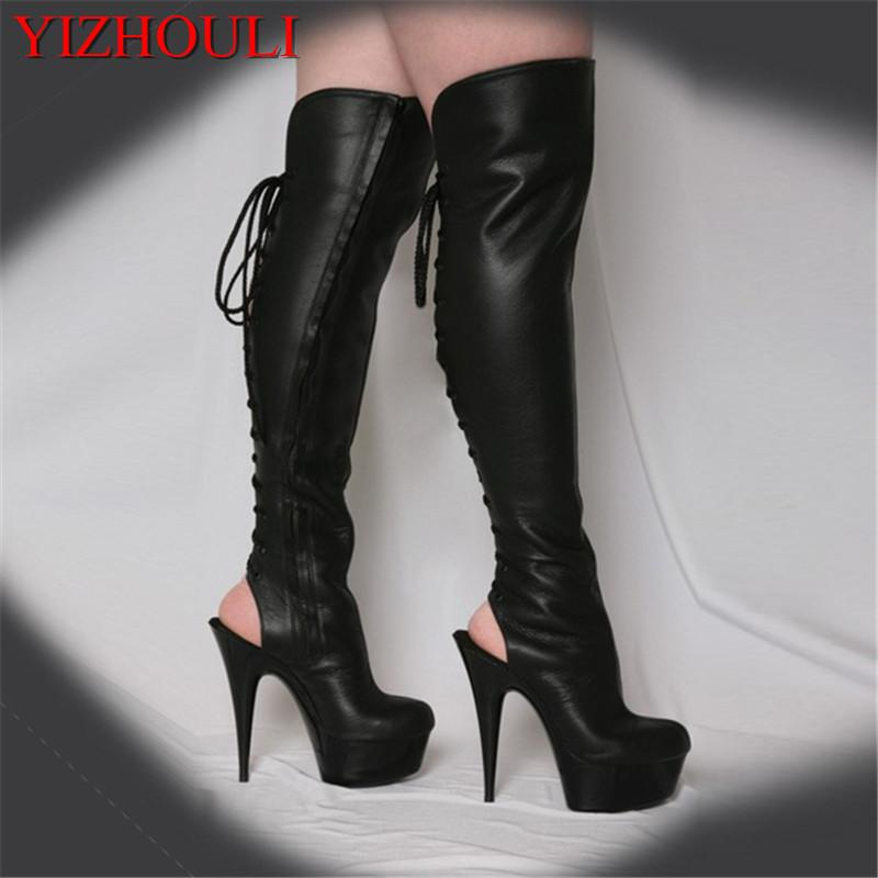 f4b85f73e29 15cm Hot Sexy Night Club boots Motorcycle Boots womens summer 6 inch high  heel peep toe strappy thigh high stiletto